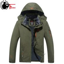 2017 Men Warm Coat Brand Winter Windbreaker Plus Size XXXL 4XL 5XL 6XL Mens Hooded Fleece Thermal Combat Waterproof Jacket Male(China)
