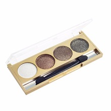Personal 4 Colors Eye Makeup Eyeshadow Palette Diamond Plated Style Bright Glitter Eye Shadow For Loved Women Beauty