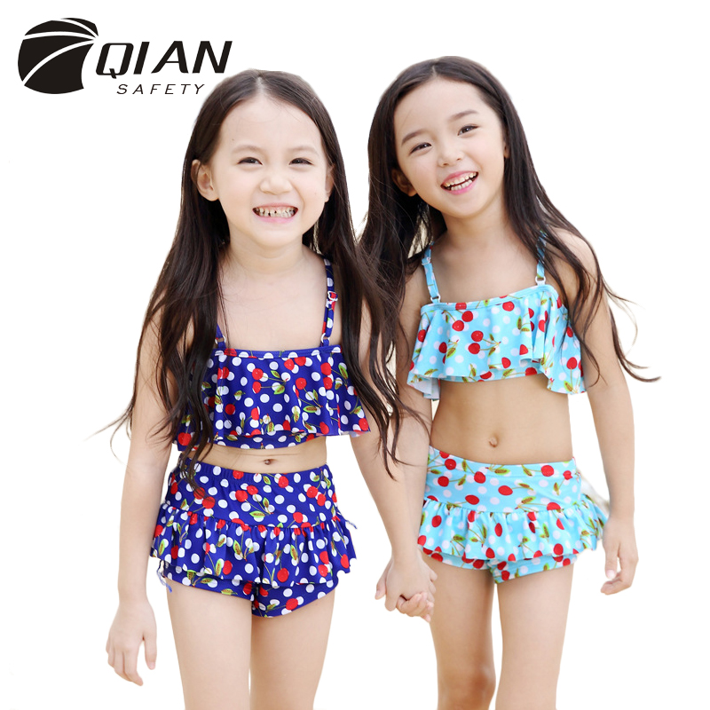 2017 New Style Cute Flower Printing Split Child Bikini Set Mid Waist Kids Swimwear for 2-6 Years Old Girls Bathing Suits<br><br>Aliexpress