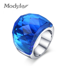 ZORCVENS New Fashion Large Rings for Women Wedding Jewelry Big Crystal Stone Ring Stainless Steel Anillos(China)
