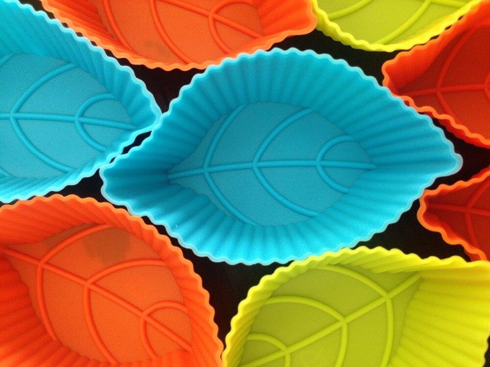 Elegant 12 Teile/los Neue 8 Cm Blatt Geformt Kuchenform Muffin Silikon Backform  Kuchen Backformen Herstellerform