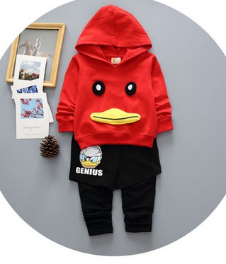 Childrens clothing boy with hood fleece + slacks two-piece girls leisure sports suits<br>