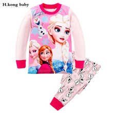 H.kong baby kids Pajamas Sets Girls cartoon elsa sleepwear Boys cotton Long Sleeve nightwear Sets children Pyjamas Fall Pajamas