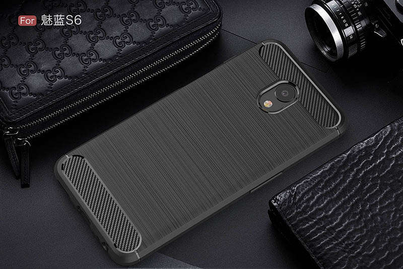carbon fiber brushed silicone case meizu m6s (9)