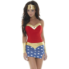 2017 hot Cosplay Women Wonder Woman sexy Costumes Adult Halloween Costume for Women Party Dress Headdress Wrist fashion style(China)