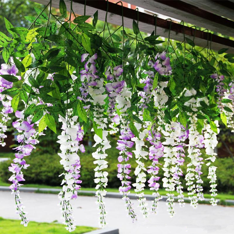 Exceptional Free Shipping 110cm 5colos Hot Sale Romantic Artificial Wisteria Silk Flower  Home Party Wedding Garden Floral Decoration