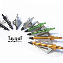 18 Packs Archery Arrowhead 100 Grain 3 Blades Broadheads For Hunting Bow And Crossbow 4 Colors(China)