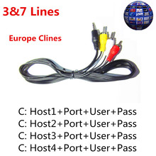 3/7 lines HD AV Cable 1 Year Europe Cccam cline For Satellite TV Receiver DVB-S2 European Server Receiver Cable Cline for 1 year(China)