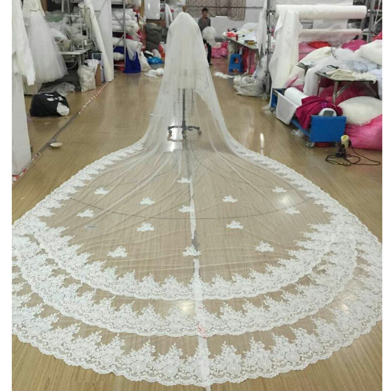 2016 Lace Long Wedding Bridal Veil Cathedral 3m Metro Accessories White Ivory Mantilla Veil Muslim Voile Mariage Velos De Novia
