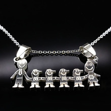Buy MAMA Stainless Steel Necklace Boys Girls Pendant Necklaces Mom Kids Silver Chain Choker Stainless Steel Neckless Women N2609 for $1.88 in AliExpress store
