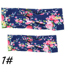 2Pc Mama & Mini Headband Sets Mother Girl Twisted Headband Floral BowKnot Hairband Turban Head Wrap Hair Band Accessories(China)