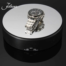 2 Speed 18cm Mirror Top Battery Power Rotating Display Stand Electric Turn Table Plate Holder For Ring Necklace Bracelet Jewelry