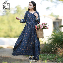 LZJN Folk Style Vintage Blue Shirt Dress Women Long Sleeve Floral Dresses Crushed Cotton Robe Drawstring Waist Maxi Dress 1908(China)