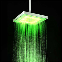 8 inch Inch Water Powered Rainfall Led Shower Head.Bathroom 3 Colors Change Led Showerhead Without Shower Arm Chuveiro Led