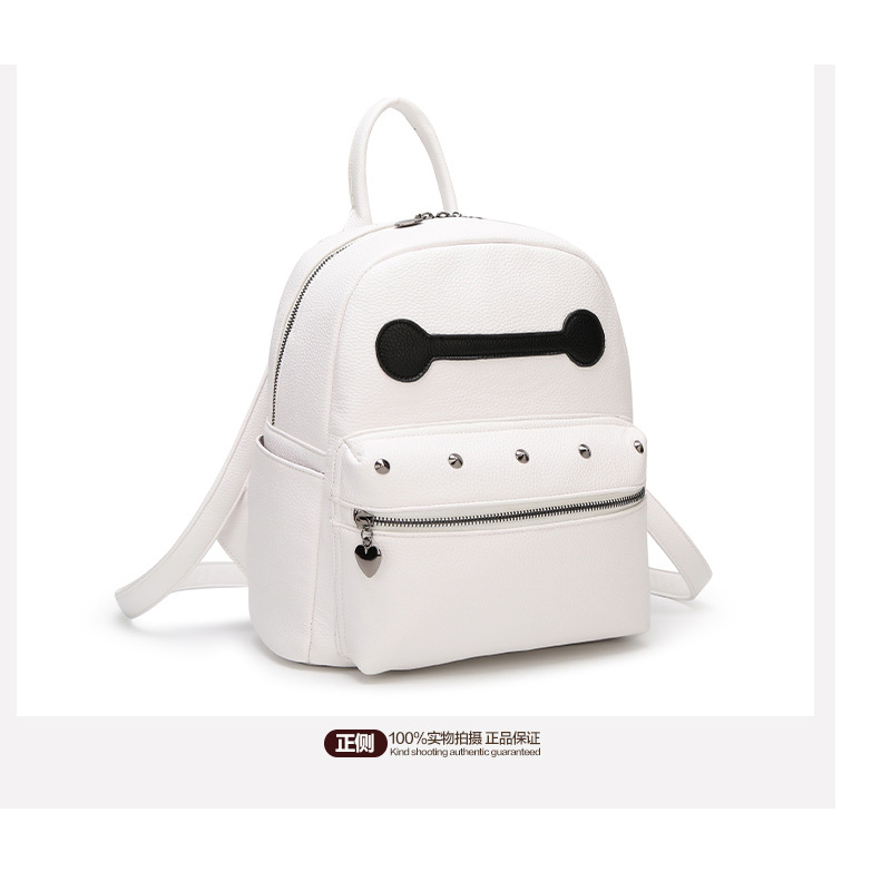 Small Cute White PU Leather Women School Backpack Fresh Japan and Korean Style Lady New Fashion Backpack ElUnico 1247 <br>