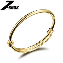 7SEAS Cute Gold Color Baby Bracelets Bangles Kids Jewelry Gift Cuff Bangle Bracelet for Girls/Kids/Children Adjustable,JM486(China)