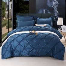4-Pieces Imitated Silk Luxury Bedding Set Solid Color Pinch Pleat Bed Set King Queen Bed Linens Duvet Cover Bed Sheet 11 Colors
