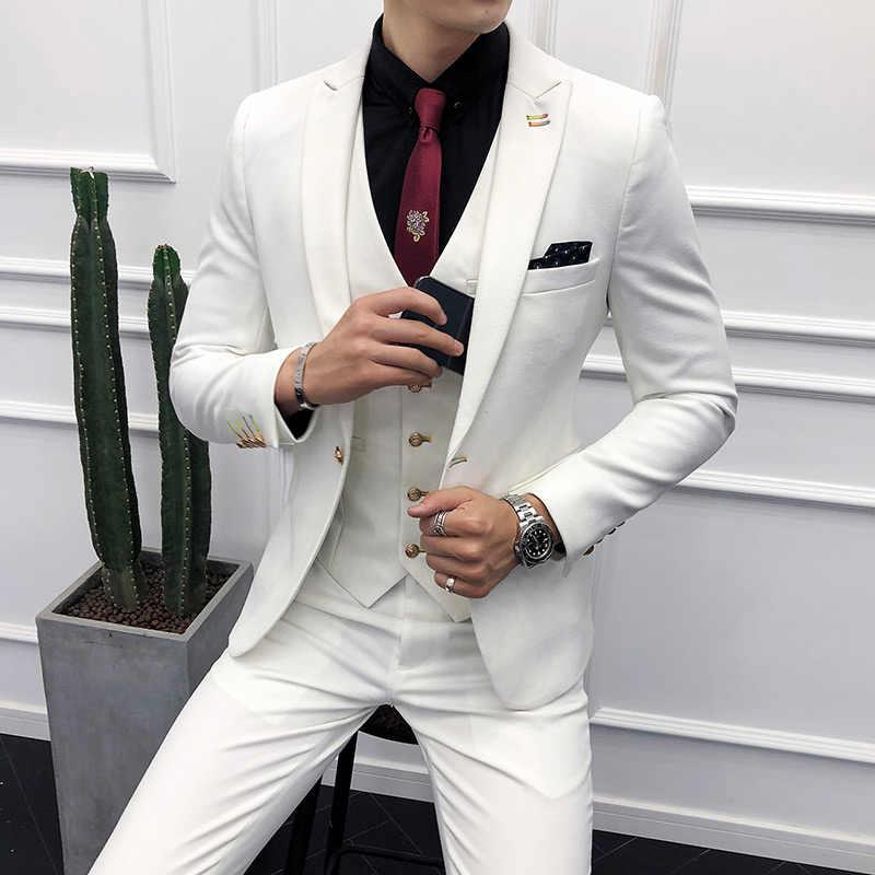 3pc Men Suit Korean Autumn Winter Slim Fit Dress White Suits