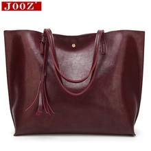JOOZ Luxury Soft Leather Women Shoulder Bag Fashion Brand Tassel Women's Leather Handbags High Quality Designer big Women Bag(China)