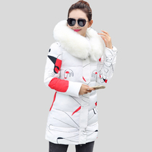 Hot sale 2017 New Winter Coats and Jackets Women Slim Long Parka Thick Warm Big Fur Hooded Cotton Jackets Fashion Female Coats(China)