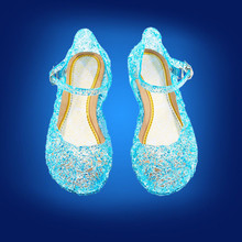 elegant girl princess sandals shoes anna elsa crystal shoes for 3-9yrs girls children kids girl's party dance performance shoes(China)