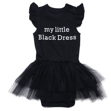 Newborn Baby Girls Dress Infant Short Sleeve Jumpsuit 100%Cotton Bodysuit Black Lace Drees for Wedding Party Princess Vestidos