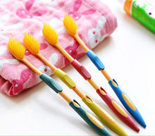 4PCS Double Ultra Soft Toothbrush Teeth Brush Bamboo Charcoal Nano Oral Care Set(China)