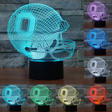 NFL Team OHIO Football Helmet Sport Cap 3D Light 7 Color Colorful Night Light USB LED Table Lampara Home Decor for kid IY803687