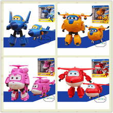 4pcs/set Super Wings 12cm Big Size Planes Deformation Airplane Robot Action Figures Transformation Robot Toys Boys Birthday Gift