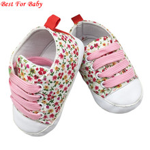 Infant Toddler T-tied Soft Soled First Walkers Anti-slip Newborn Baby Canvas Floral Shoes