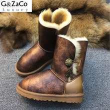 G&ZaCo Luxury New Winter Snow Boots Real Wool Natural Sheepskin Boots Mid Calf Button Genuine Leather Leather Boots Matel Button