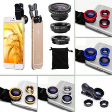 Universal Fisheye Lenses Fish Eye Wide Angle 3 in 1 Mobile Phone Lens Camera Kit For LG Google Nexus 4 5 5X 6 6P FOR Iphone 7 6s(China)