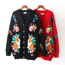 NYMPH Hiqh Quality European Style New Fall Winer Women Rabbit Flower Embroidery Luxury Knitting Sweater Warm Casual Cardigan Top