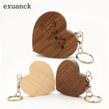 LOGO customized wooden heart USB 2.0 Flash Memory Stick Pen Drive U Disk Festival Gift 4GB- 32GB 64GB (over 10 pcs free logo)