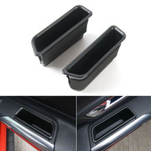 BBQ@FUKA 2x Door Side Armrest Handle Storage Box Cover Trim Fit For Ford Mustang 2015 2016 Car Container Accessories