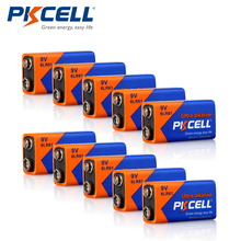 10pcs 6LR61 9V Batteries 1604A MN1604 9Volt Alkaline Dry Battery PKCELL(China)