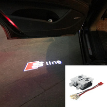 2xCar LED Ghost Shadow Projector Laser Courtesy Personality Sline Logo Light For Audi Sline A8 A7 A5 A6 A4 A3 A1 R8 TT Q7 Q5 Q3(China)
