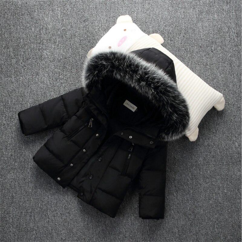 2017 Winer Down Jackets For Boys And Girls Coat Fashion Big Fur Collar Solid Hooded Warm Kids Jackets Outwear 100-140Îäåæäà è àêñåññóàðû<br><br>