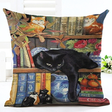 Christmas Style Lovely Cat Printed Cushion Linen Cojines Square Cute Cartoon Houseware Throw Pillow Almofadas Cojine Almofadas(China)