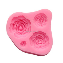 Fondant Silicone Rose Mold 3D Flower Moldes De Silicona Cake Decorating Tools Silicon Molds Paste Americana Color Pink