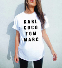 Plus size  Women Black White karl coco tom marc American T shirt  Woman Tee Fashion Tops Street Hippie Punk Womens Tshirt