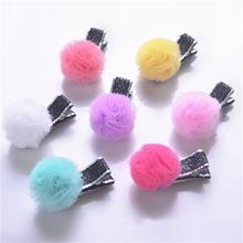 1 pc! Glitter Star Kid Hairpins Mesh Ball Ribbon Bow Hair Clip Classic Girls Summery Hair Pinch New Child Gift(China)