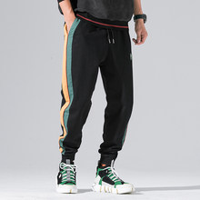 Street Fashion Men Jeans Black Color Stripe Spliced Vintage Japanese Style Casual Jogger Pants Loose Fit Hip Hop Tapered Pants(China)