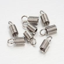 304 Stainless Steel Terminators, Cord Coil, Stainless Steel Color, 11x5mm, Hole: 3mm