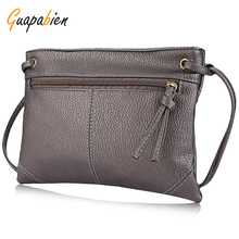 Guapabien Solid Color Women Messenger Bags Detachable Strap Zipper Portable Leather Shoulder Crossbody Bag Fashion Small Bags