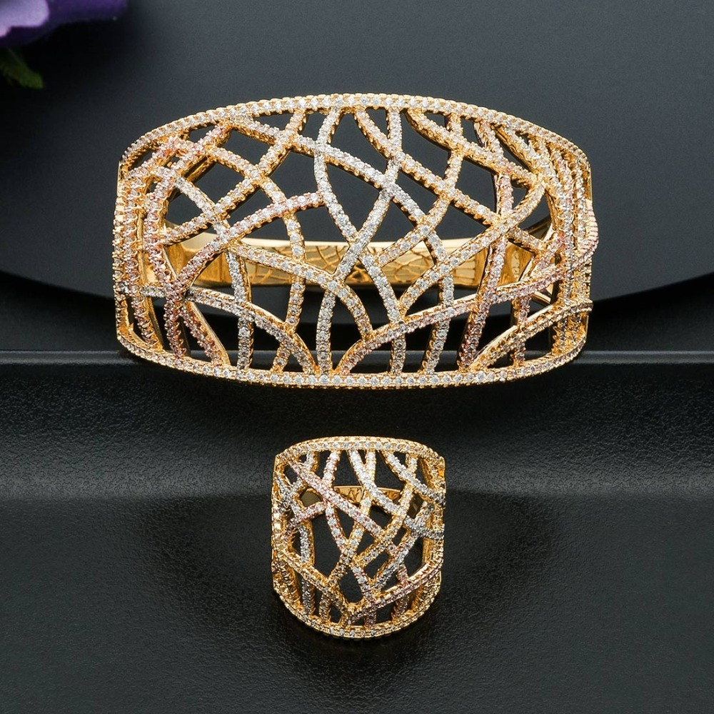 ModemAngel Luxury Line Geometry Full Mirco Paved Cubic Zirconia Women Bracelet Bangle And Ring Fashion Jewelry Sets
