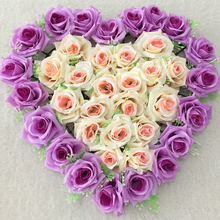 40x40cm Purple Champagne Artificial Silk Rose Wedding Car Decoration Heart Shaped Door Wreaths Lovely Wedding Door Decoration