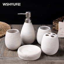 4/5PCS lot Ceramic bathroom sets of  home decoration creative bathroom toiletries soap dish toothbrush holder