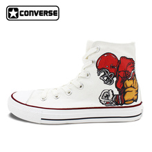 Original Skateboarding Shoes Sneakers Men Brand White Converse Design Rugby Player Football Hand Painted Canvas Shoes(China)