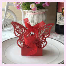Cheap candy box wholesale price baby shower favors box wedding supply butterfly wedding favour box Beautiful baby shower box(China)